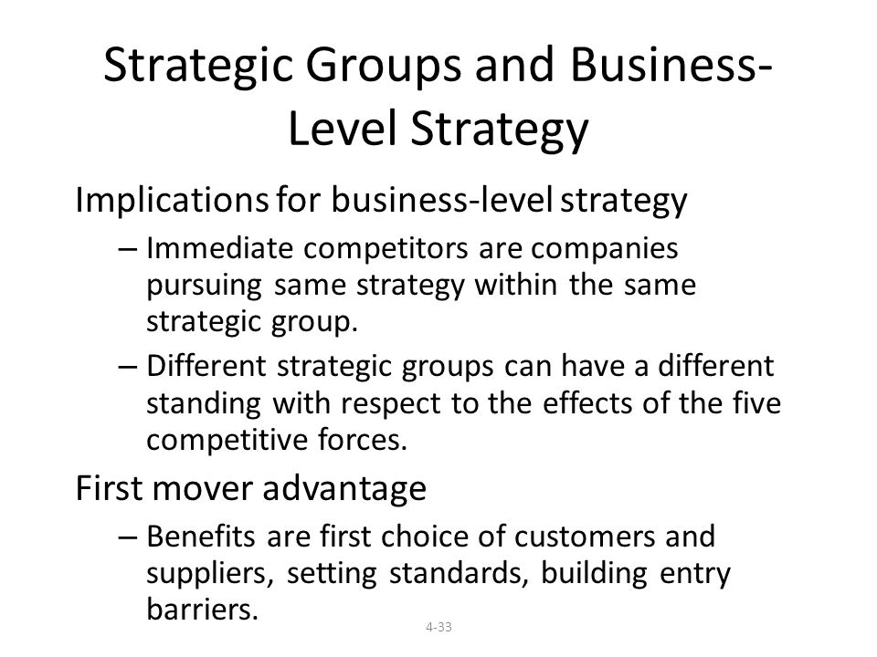 4-33 Strategic Groups and Business- Level Strategy Implications for business-level strategy – Immediate competitors are companies pursuing same strategy within the same strategic group.