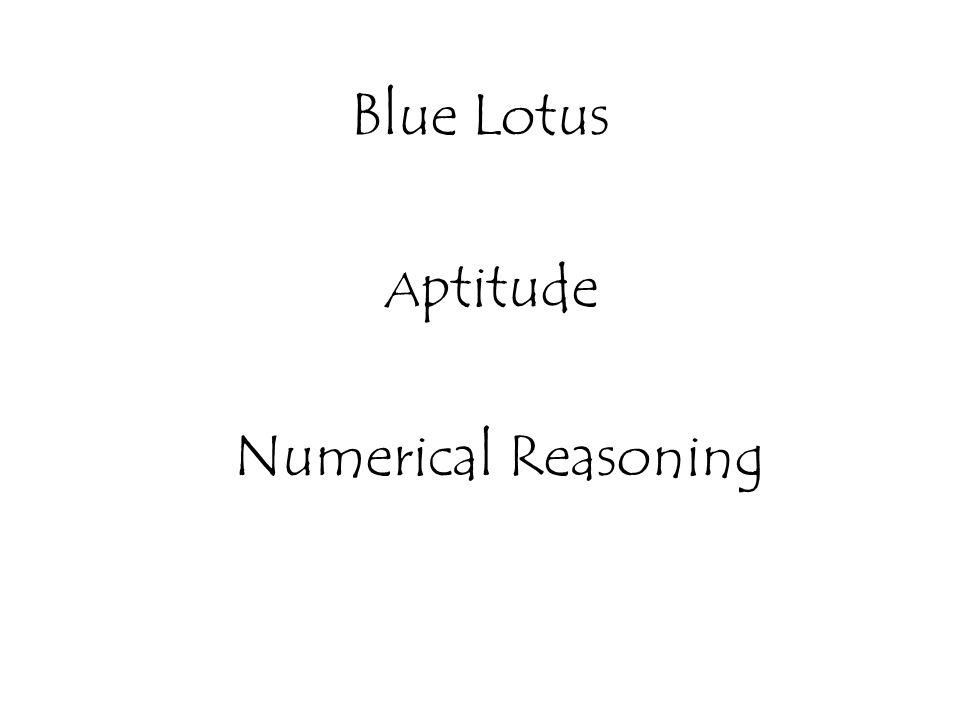Blue Lotus A ptitude Numerical Reasoning