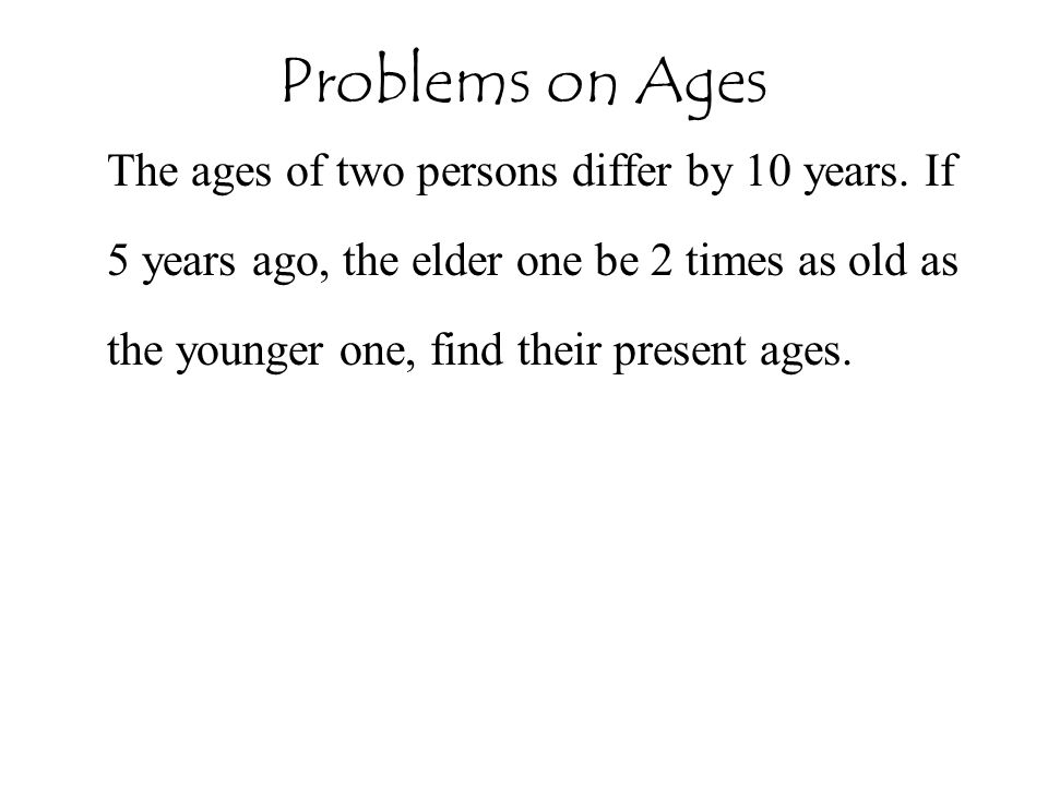 The ages of two persons differ by 10 years.