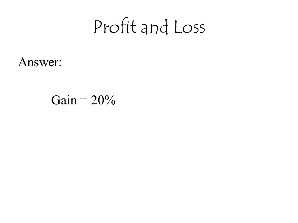 Profit and Loss Answer: Gain = 20%