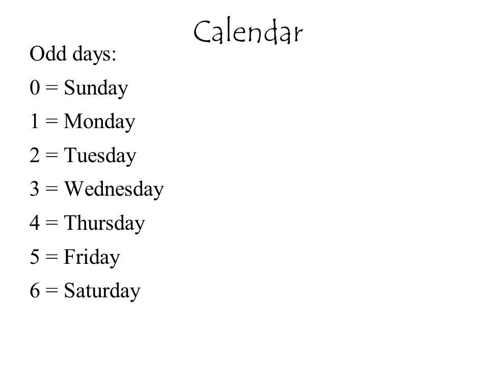 Calendar Odd days: 0 = Sunday 1 = Monday 2 = Tuesday 3 = Wednesday 4 = Thursday 5 = Friday 6 = Saturday