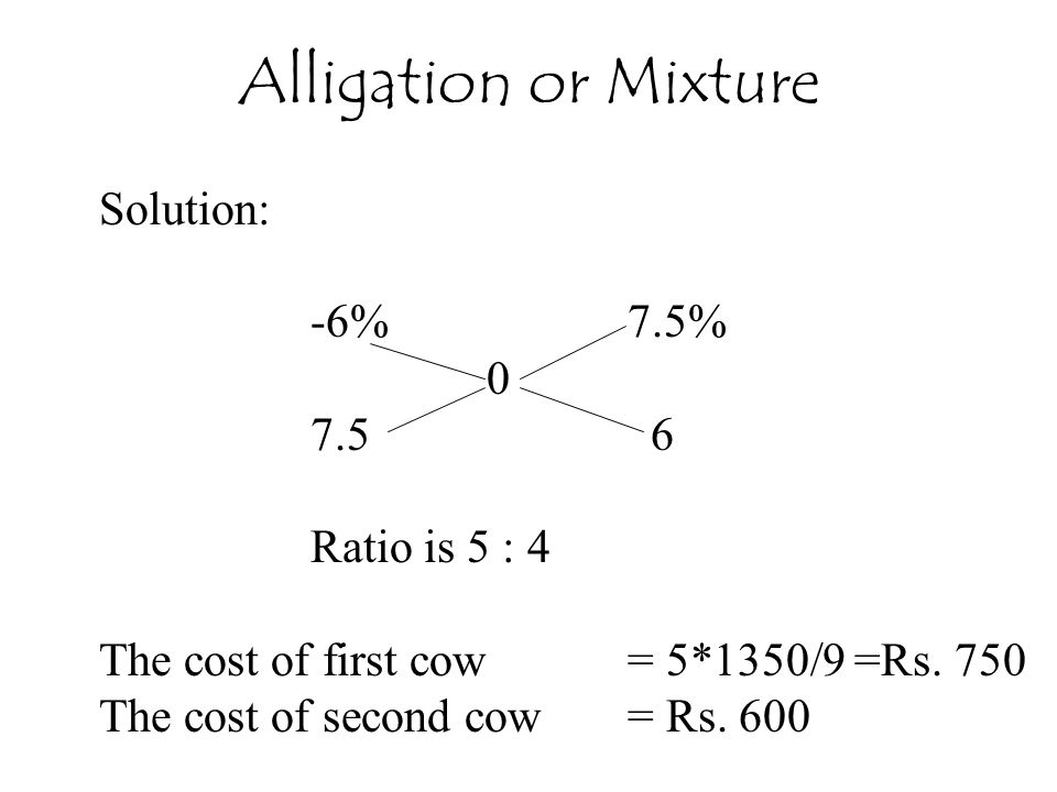 Solution: -6%7.5% 0 7.5 6 Ratio is 5 : 4 The cost of first cow = 5*1350/9 =Rs.