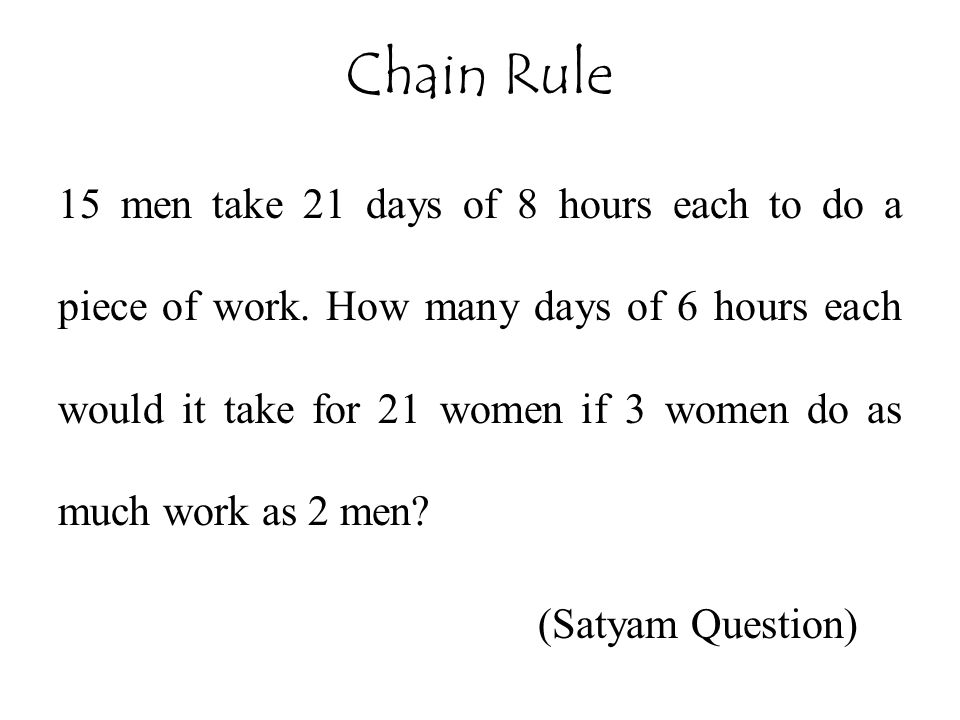 15 men take 21 days of 8 hours each to do a piece of work.