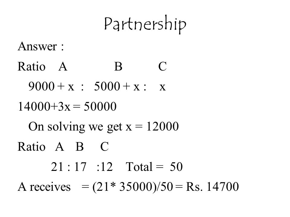 Answer : Ratio A B C 9000 + x : 5000 + x : x 14000+3x = 50000 On solving we get x = 12000 Ratio AB C 21 : 17 :12 Total = 50 A receives = (21* 35000)/50 = Rs.