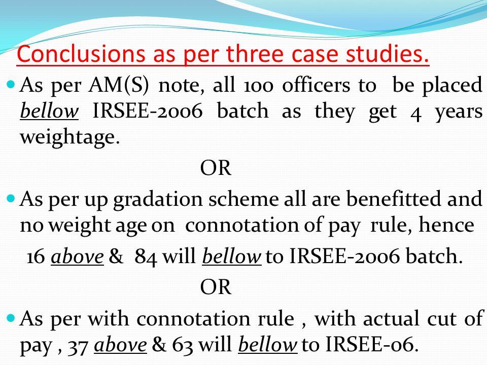 Conclusions as per three case studies.
