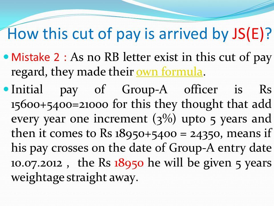 How this cut of pay is arrived by JS(E).
