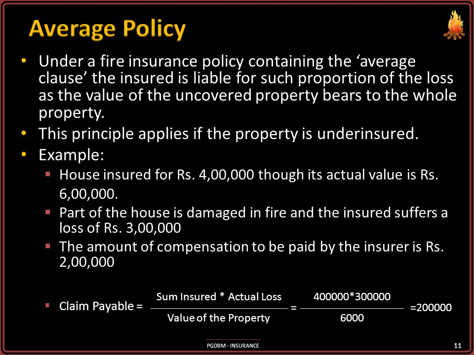 PGDBM - INSURANCE The value declared in the policy is payable by the insured in the event of a total loss irrespective of the actual value of loss. Th