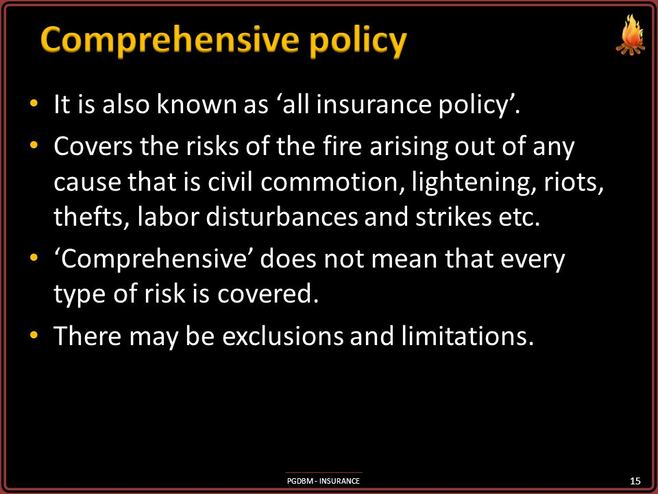 PGDBM - INSURANCE Provides for loss of tangible and intangible properties. Provides for loss of tangible and intangible properties. The insured may su