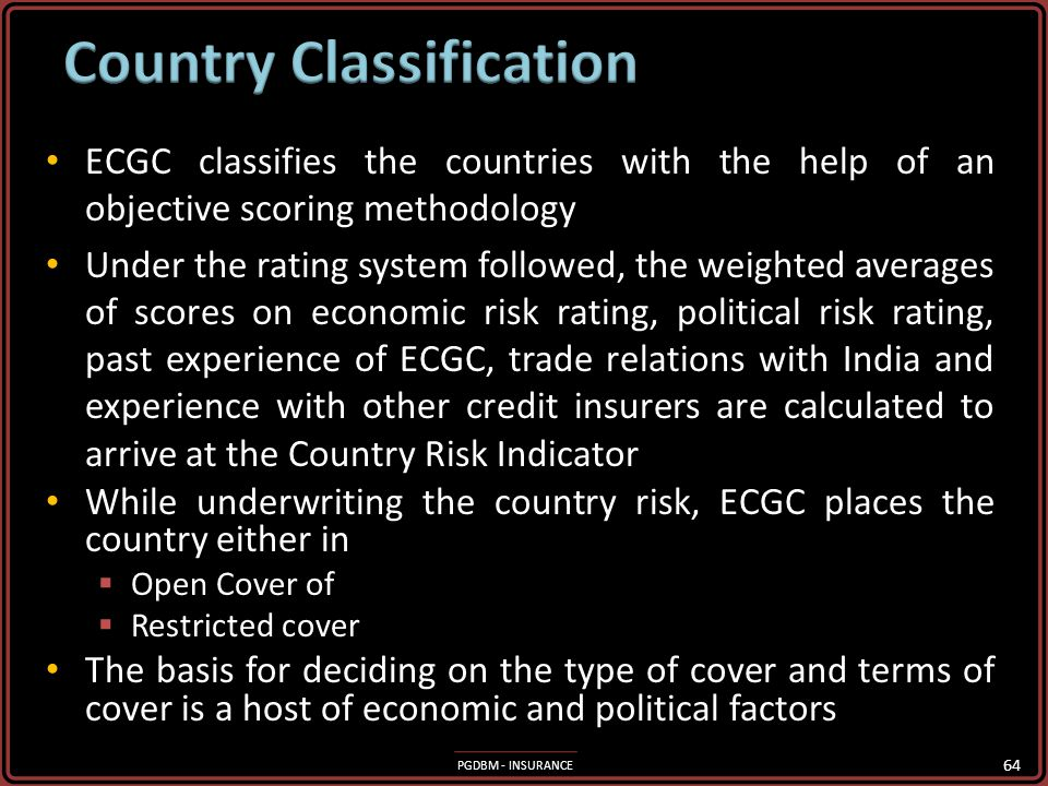 PGDBM - INSURANCE Assessment and evaluation of political risks associated with countries for the purpose of premium calculation, determining types of