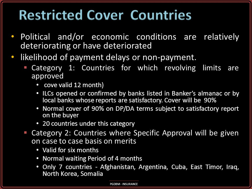 PGDBM - INSURANCE Cover with No Restrictions Cover with No Restrictions Cover is offered usually on normal terms and conditions i.e. 90% cover, 4 mont
