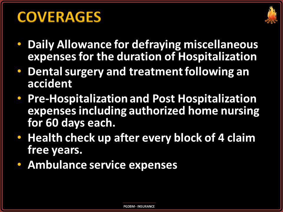 PGDBM - INSURANCE Hospitalization expenses including Room, Board, Nursing, Doctor's fees, Cost of Medicines, Pathological Tests, etc. Hospitalization