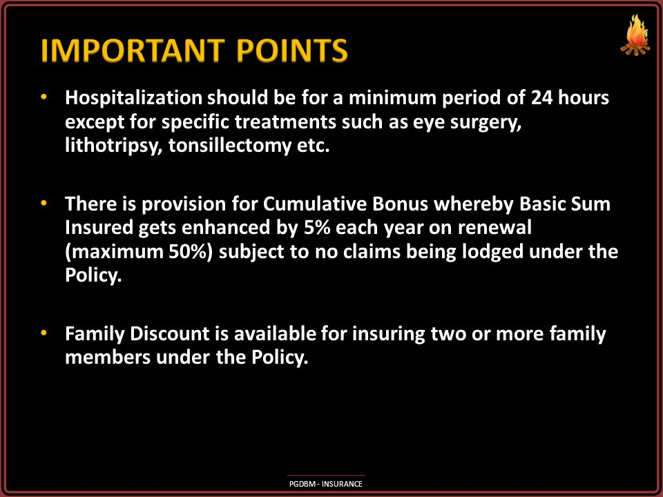 PGDBM - INSURANCE Daily Allowance for defraying miscellaneous expenses for the duration of Hospitalization Daily Allowance for defraying miscellaneous