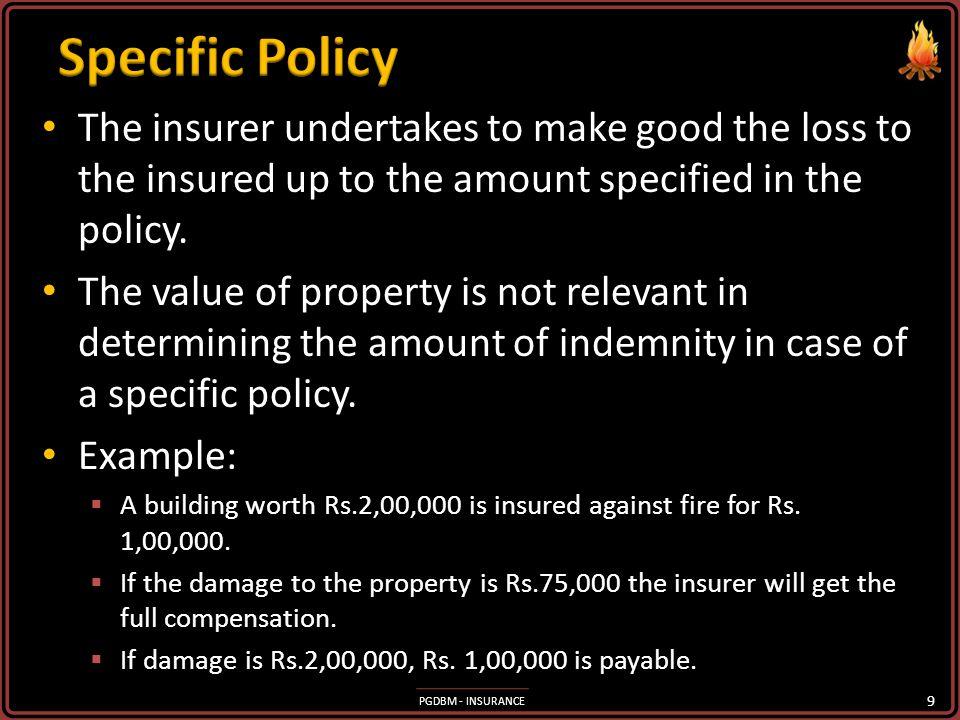 Specific Policy Specific Policy Valued Policy Valued Policy Average Policy Average Policy Floating policy Floating policy Reinstatement Policy Reinsta