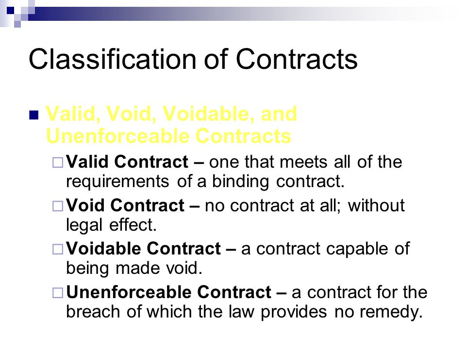 Classification of Contracts Valid, Void, Voidable, and Unenforceable Contracts  Valid Contract – one that meets all of the requirements of a binding