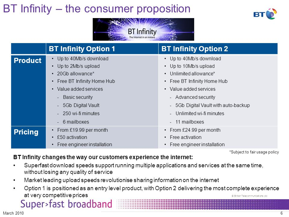 © British Telecommunications plc March 20106 BT Infinity changes the way our customers experience the internet: Superfast download speeds support running multiple applications and services at the same time, without losing any quality of service Market leading upload speeds revolutionise sharing information on the internet Option 1 is positioned as an entry level product, with Option 2 delivering the most complete experience at very competitive prices BT Infinity – the consumer proposition BT Infinity Option 1BT Infinity Option 2 Product Up to 40Mb/s download Up to 2Mb/s upload 20Gb allowance* Free BT Infinity Home Hub Value added services - Basic security - 5Gb Digital Vault - 250 wi-fi minutes - 6 mailboxes Up to 40Mb/s download Up to 10Mb/s upload Unlimited allowance* Free BT Infinity Home Hub Value added services - Advanced security - 5Gb Digital Vault with auto-backup - Unlimited wi-fi minutes - 11 mailboxes Pricing From £19.99 per month £50 activation Free engineer installation From £24.99 per month Free activation Free engineer installation *Subject to fair usage policy