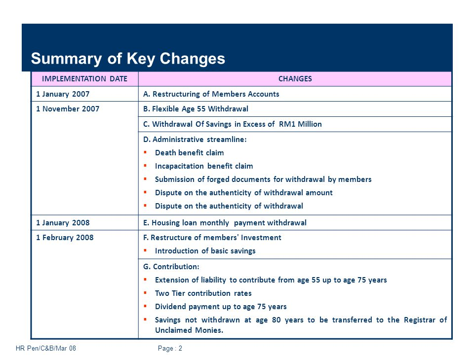 HR Pen/C&B/Mar 08 Page : 2 Summary of Key Changes IMPLEMENTATION DATECHANGES 1 January 2007A. Restructuring of Members Accounts 1 November 2007B. Flex
