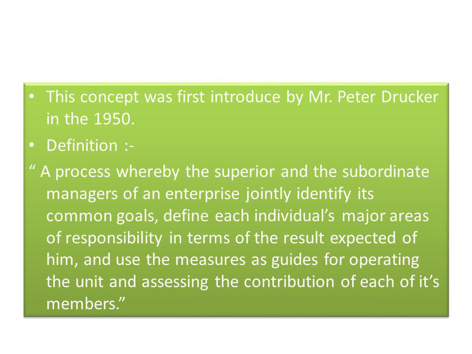 This concept was first introduce by Mr. Peter Drucker in the 1950.