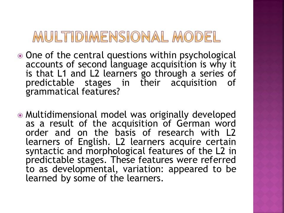  One of the central questions within psychological accounts of second language acquisition is why it is that L1 and L2 learners go through a series o