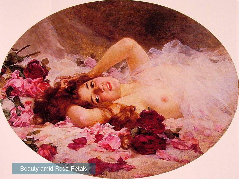 Louis Marie de Schryver, Beauty Amid Rose Petals (1901) Esta preciosa pintura pertenece a la pintora Louis Marie Schryver nacida en París, en 1862.
