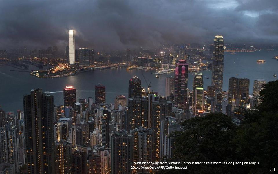Clouds clear away from Victoria Harbour after a rainstorm in Hong Kong on May 8, 2014.