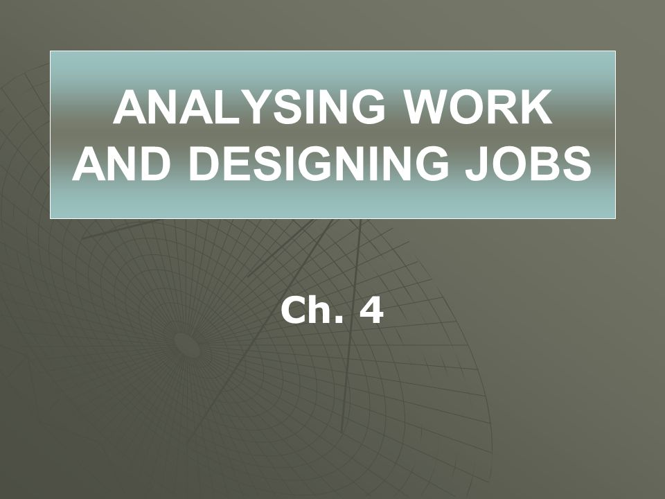 ANALYSING WORK AND DESIGNING JOBS Ch. 4