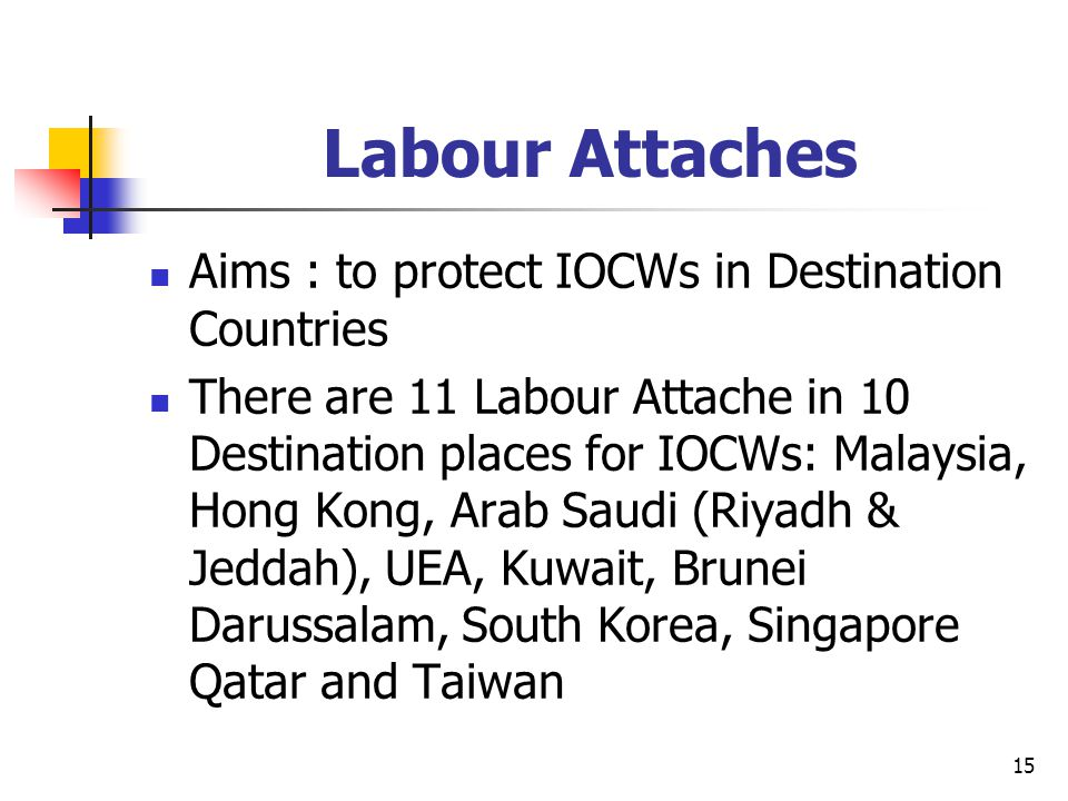 15 Labour Attaches Aims : to protect IOCWs in Destination Countries There are 11 Labour Attache in 10 Destination places for IOCWs: Malaysia, Hong Kon