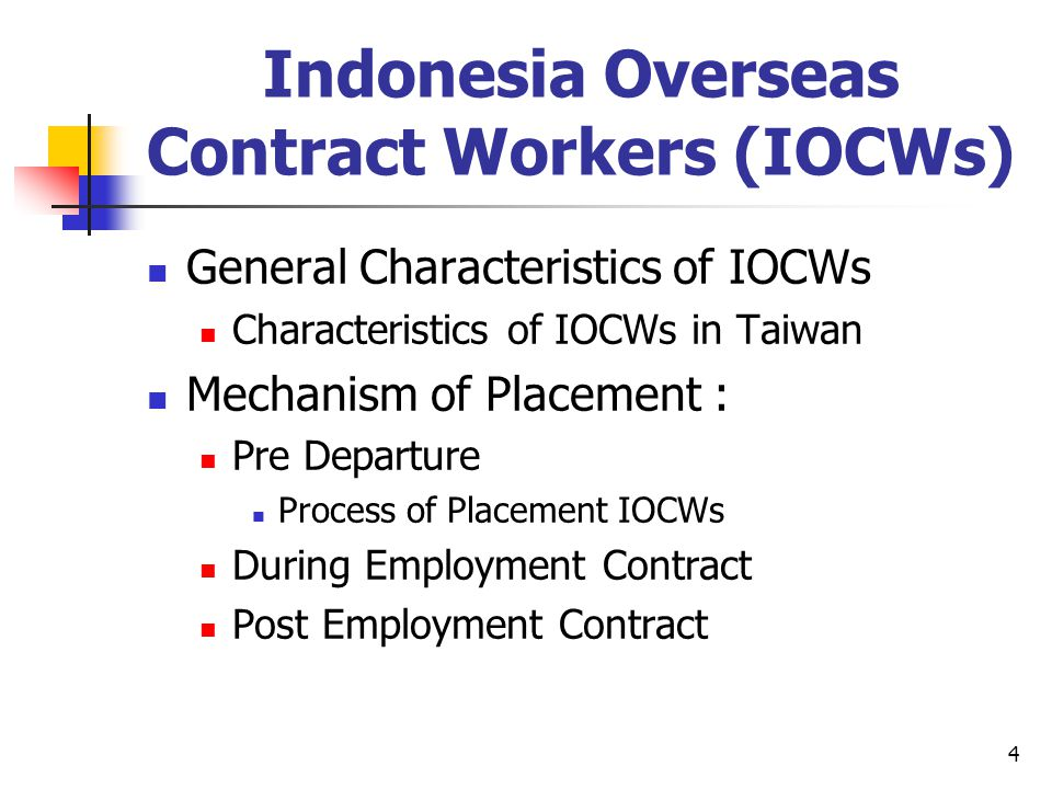 4 Indonesia Overseas Contract Workers (IOCWs) General Characteristics of IOCWs Characteristics of IOCWs in Taiwan Mechanism of Placement : Pre Departu