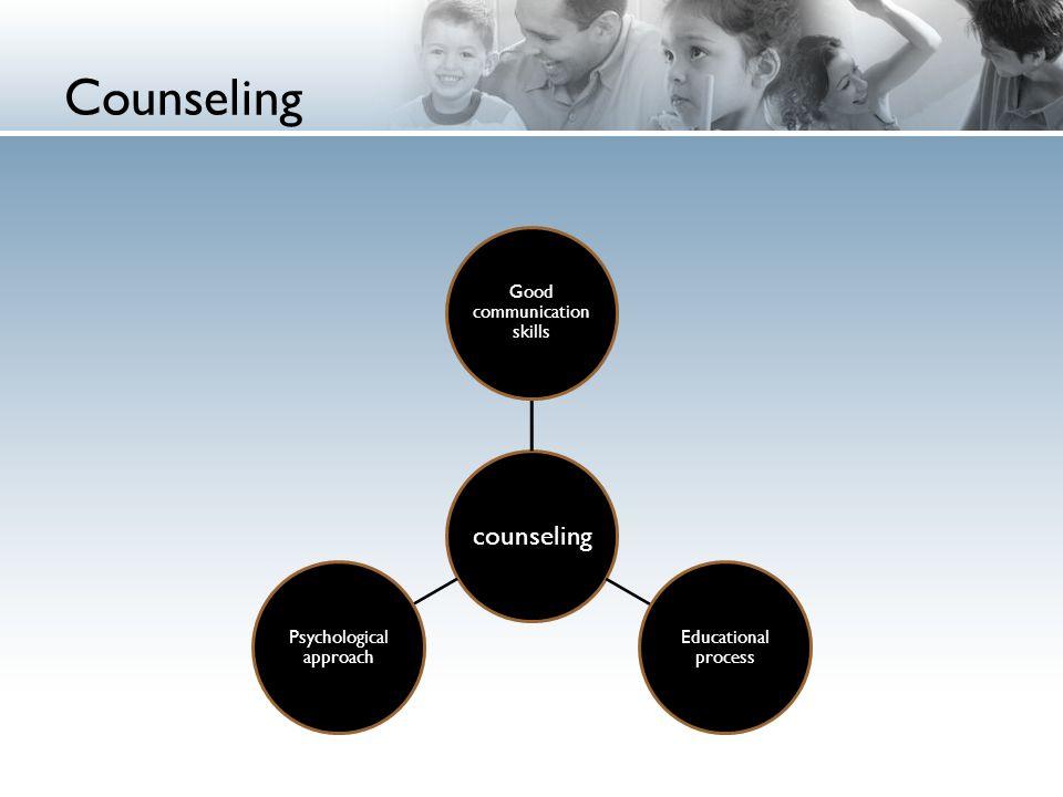 Counseling counseling Good communication skills Educational process Psychological approach