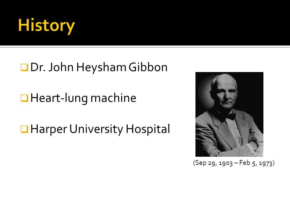  Dr. John Heysham Gibbon  Heart-lung machine  Harper University Hospital (Sep 29, 1903 – Feb 5, 1973)
