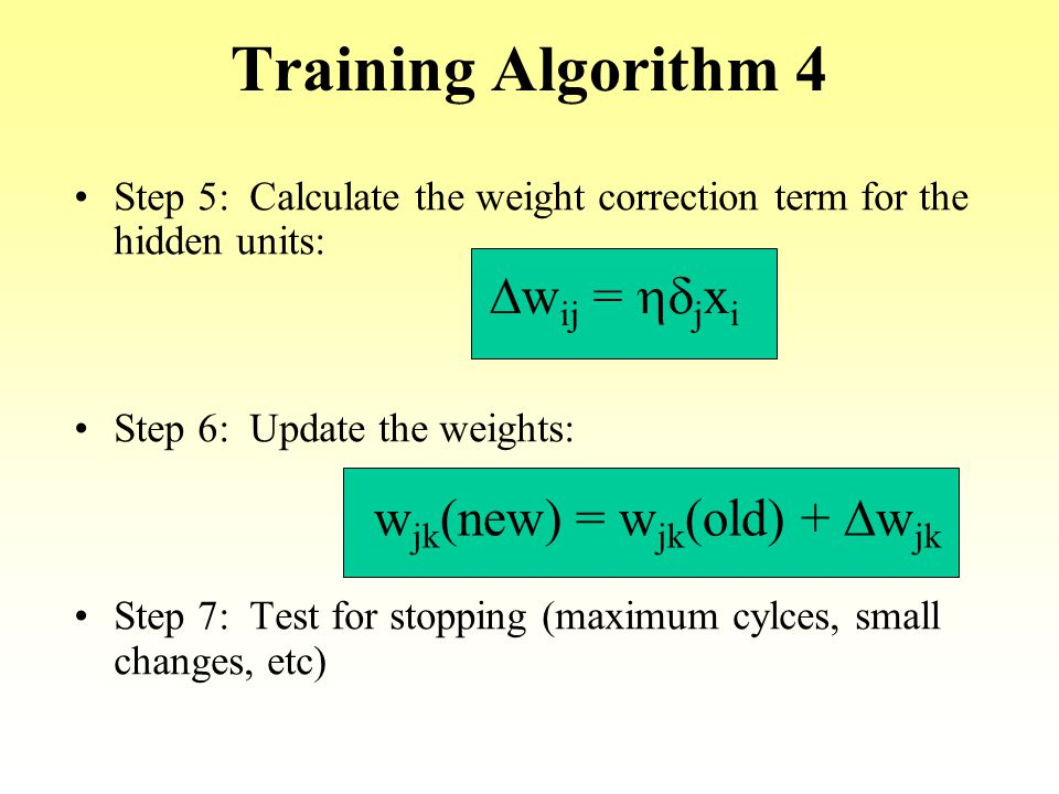 Training Algorithm 4 Step 5: Calculate the weight correction term for the hidden units: Step 6: Update the weights: Step 7: Test for stopping (maximum
