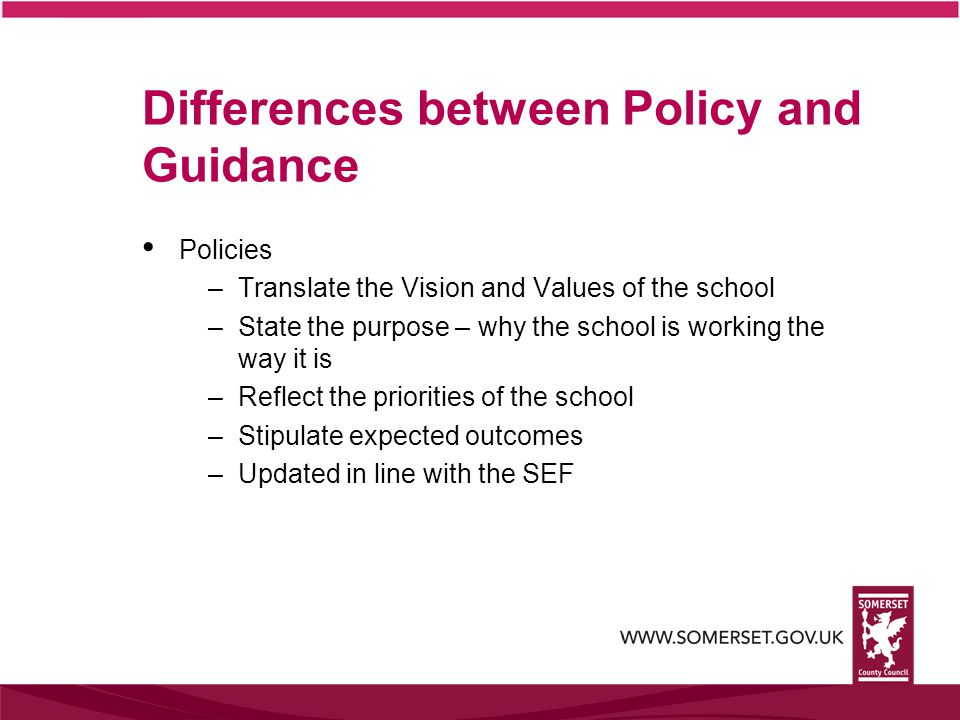 Differences between Policy and Guidance Policies –Translate the Vision and Values of the school –State the purpose – why the school is working the way it is –Reflect the priorities of the school –Stipulate expected outcomes –Updated in line with the SEF