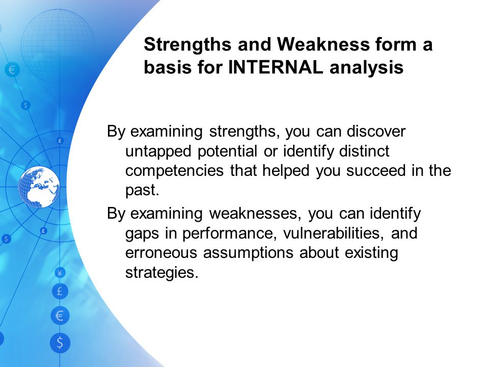 Weaknesses A WEAKNESS is something a company lacks or does poorly (in comparison to others) or a condition that places it at a disadvantage Possible Weaknesses: –Poor market image –Obsolete facilities –Internal operating problems –Poor marketing skills