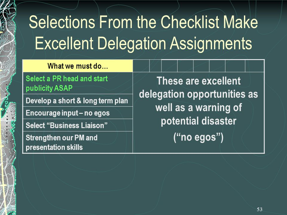 53 Selections From the Checklist Make Excellent Delegation Assignments What we must do… Select a PR head and start publicity ASAP These are excellent delegation opportunities as well as a warning of potential disaster ( no egos ) Develop a short & long term plan Encourage input – no egos Select Business Liaison Strengthen our PM and presentation skills