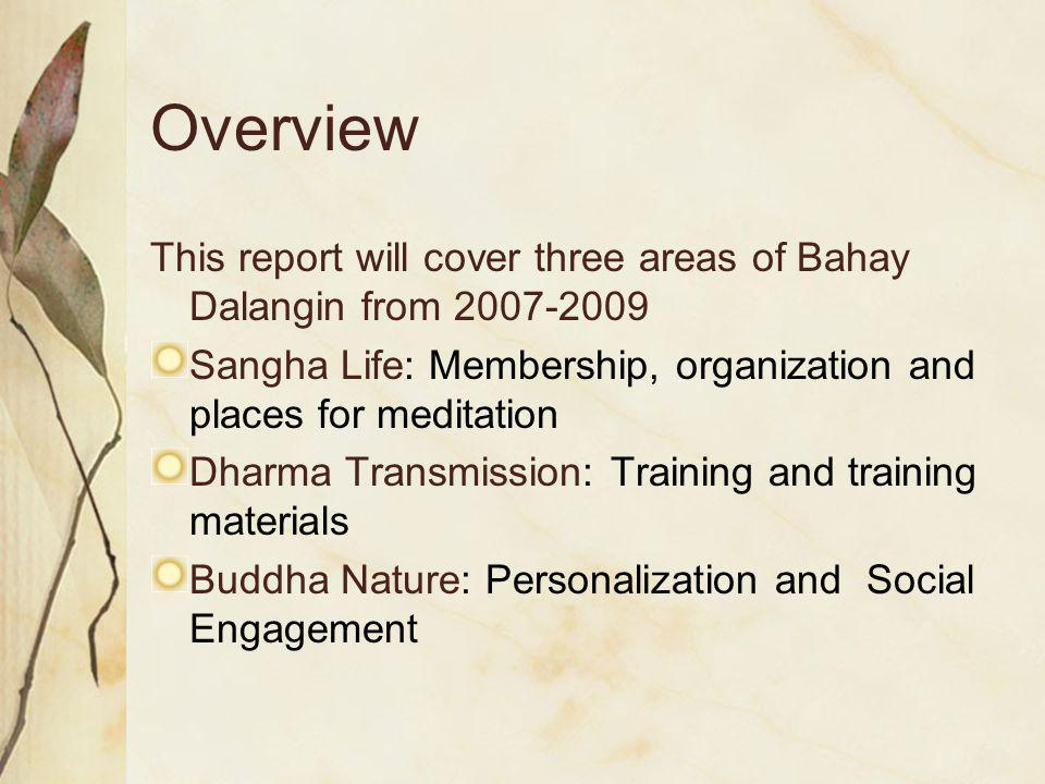 Overview This report will cover three areas of Bahay Dalangin from 2007-2009 Sangha Life: Membership, organization and places for meditation Dharma Transmission: Training and training materials Buddha Nature: Personalization and Social Engagement