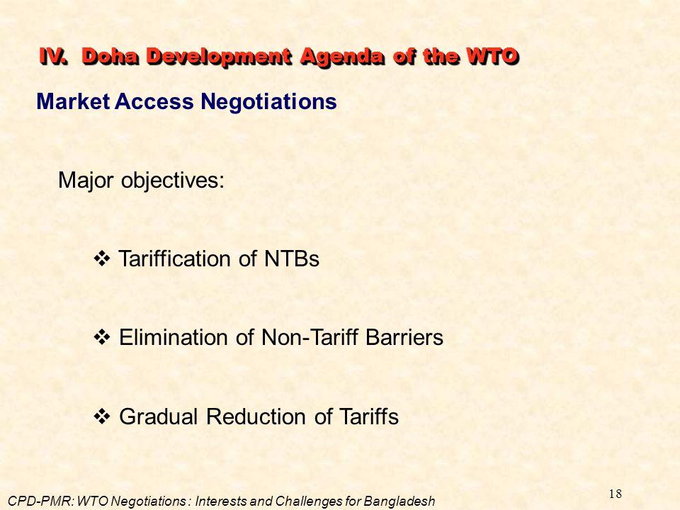 18 Market Access Negotiations Major objectives:  Tariffication of NTBs  Elimination of Non-Tariff Barriers  Gradual Reduction of Tariffs IV. Doha D