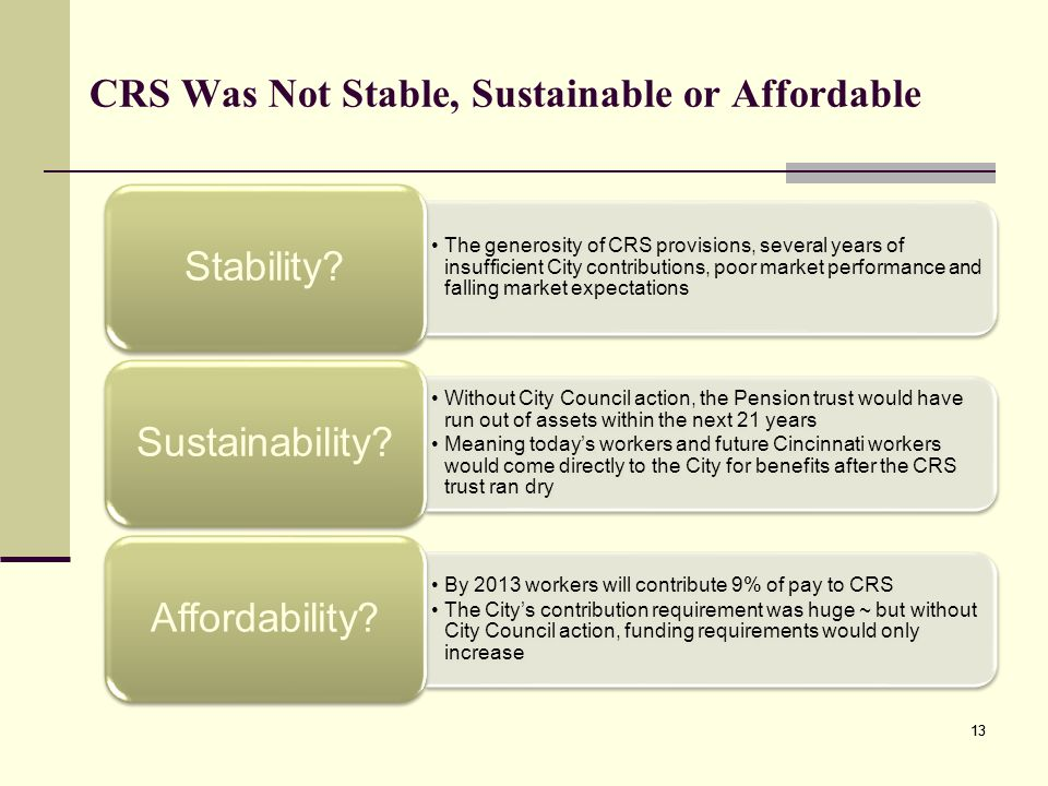 CRS Was Not Stable, Sustainable or Affordable The generosity of CRS provisions, several years of insufficient City contributions, poor market performance and falling market expectations Stability.