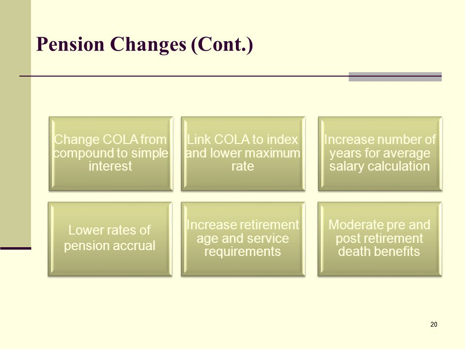 Pension Changes (Cont.) Link COLA to index and lower maximum rate Moderate pre and post retirement death benefits Increase number of years for average salary calculation Increase retirement age and service requirements Lower rates of pension accrual Change COLA from compound to simple interest 20