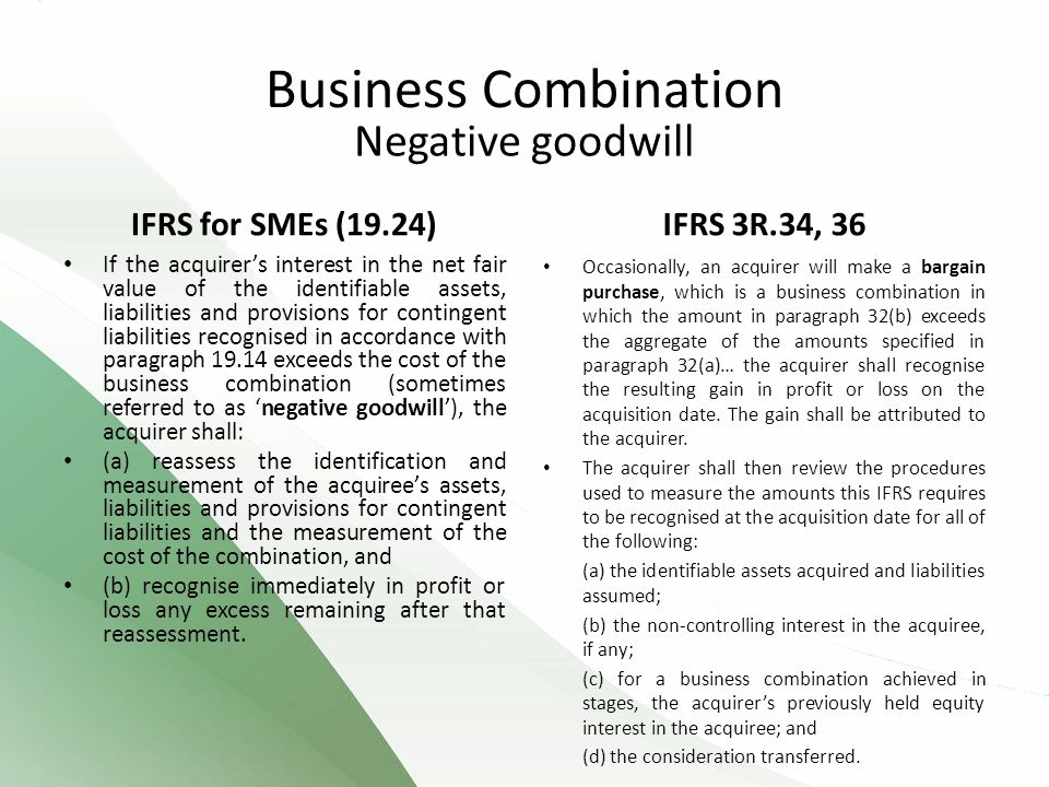 Negative goodwill IFRS for SMEs (19.24) If the acquirer's interest in the net fair value of the identifiable assets, liabilities and provisions for contingent liabilities recognised in accordance with paragraph 19.14 exceeds the cost of the business combination (sometimes referred to as 'negative goodwill'), the acquirer shall: (a) reassess the identification and measurement of the acquiree's assets, liabilities and provisions for contingent liabilities and the measurement of the cost of the combination, and (b) recognise immediately in profit or loss any excess remaining after that reassessment.