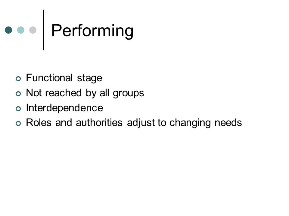 Performing Functional stage Not reached by all groups Interdependence Roles and authorities adjust to changing needs
