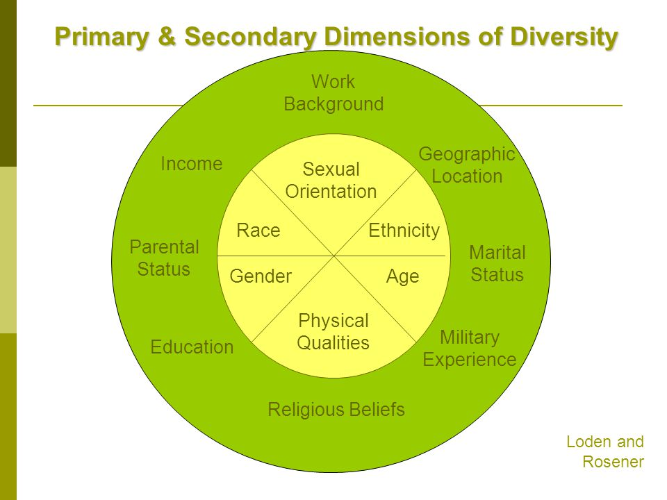 Primary & Secondary Dimensions of Diversity Sexual Orientation Race Gender Physical Qualities Age Ethnicity Work Background Income Geographic Location Parental Status Marital Status Education Military Experience Religious Beliefs Loden and Rosener