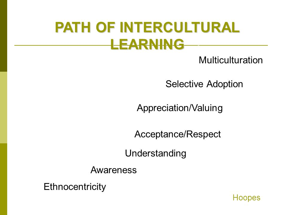 PATH OF INTERCULTURAL LEARNING Multiculturation Selective Adoption Appreciation/Valuing Acceptance/Respect Understanding Awareness Ethnocentricity Hoo