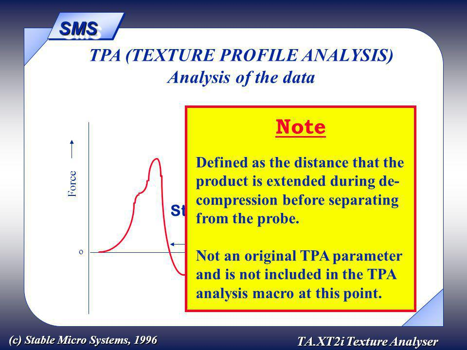 SMSSMS TA.XT2i Texture Analyser (c) Stable Micro Systems, 1996 Force Time o TPA (TEXTURE PROFILE ANALYSIS) Analysis of the data Stringiness Note Defined as the distance that the product is extended during de- compression before separating from the probe.