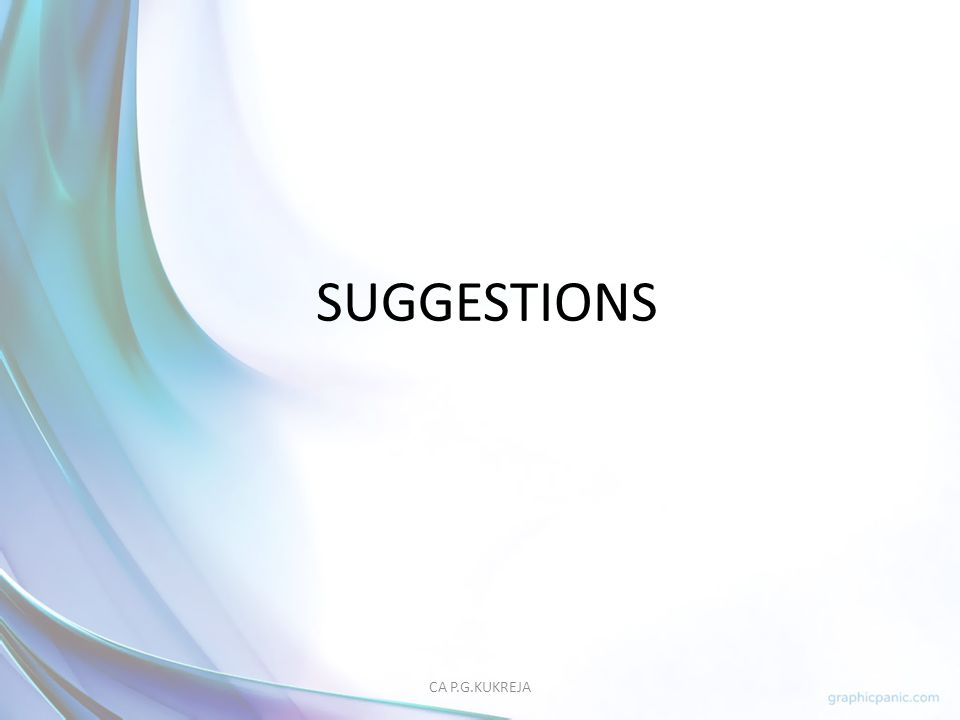 SUGGESTIONS CA P.G.KUKREJA