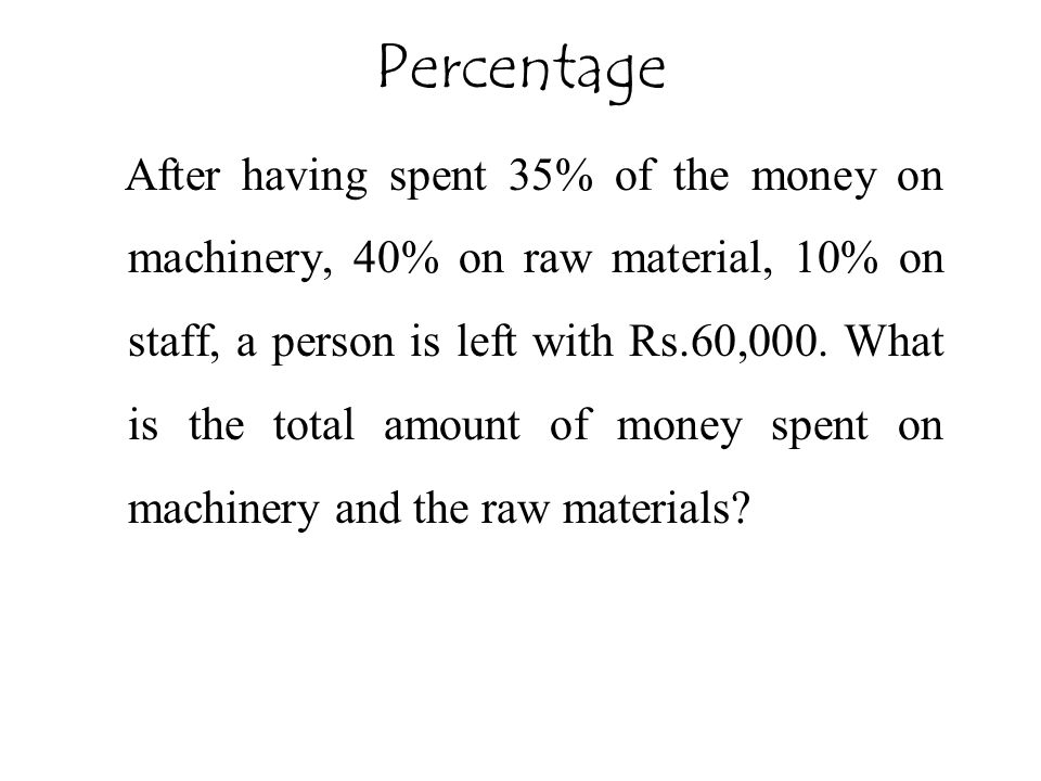Percentage After having spent 35% of the money on machinery, 40% on raw material, 10% on staff, a person is left with Rs.60,000. What is the total amo