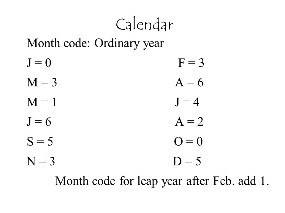 Calendar Month code: Ordinary year J = 0 F = 3 M = 3 A = 6 M = 1 J = 4 J = 6 A = 2 S = 5 O = 0 N = 3 D = 5 Month code for leap year after Feb. add 1.