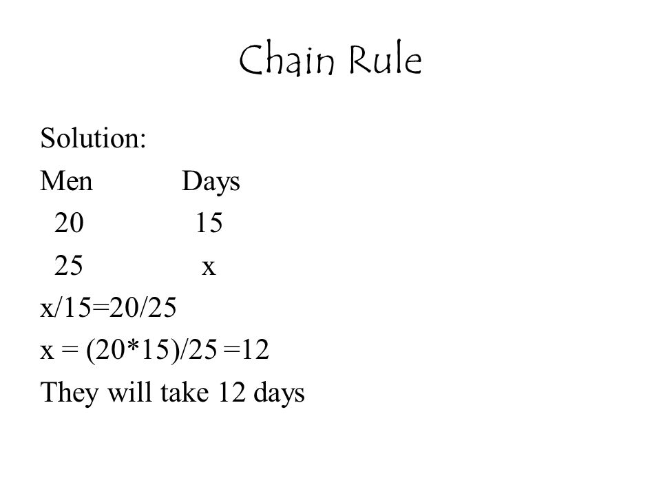 Chain Rule Solution: Men Days 20 15 25 x x/15=20/25 x = (20*15)/25 =12 They will take 12 days