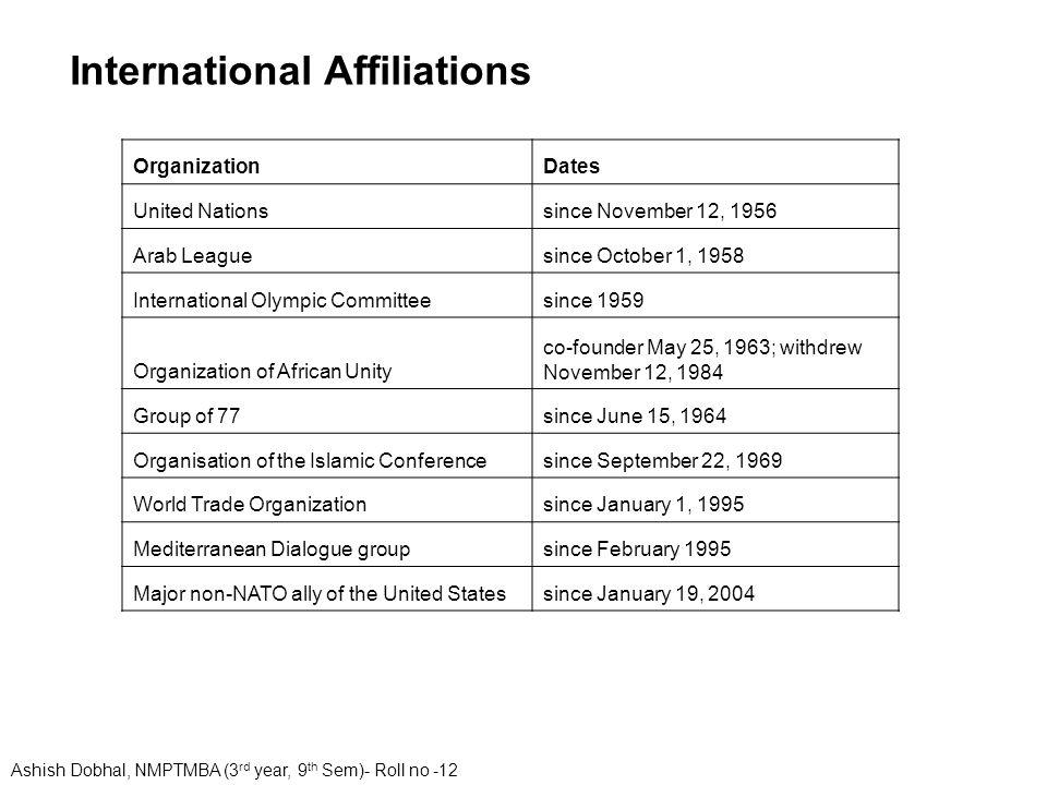OrganizationDates United Nationssince November 12, 1956 Arab Leaguesince October 1, 1958 International Olympic Committeesince 1959 Organization of Afr