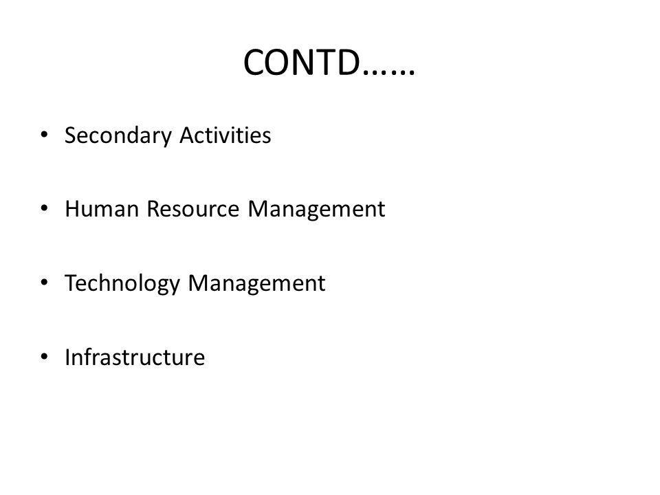 CONTD…… Secondary Activities Human Resource Management Technology Management Infrastructure