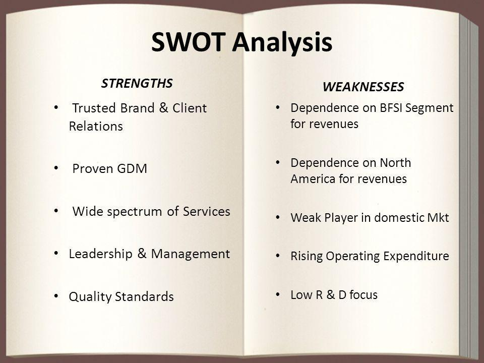 SWOT Analysis STRENGTHS Trusted Brand & Client Relations Proven GDM Wide spectrum of Services Leadership & Management Quality Standards WEAKNESSES Dep