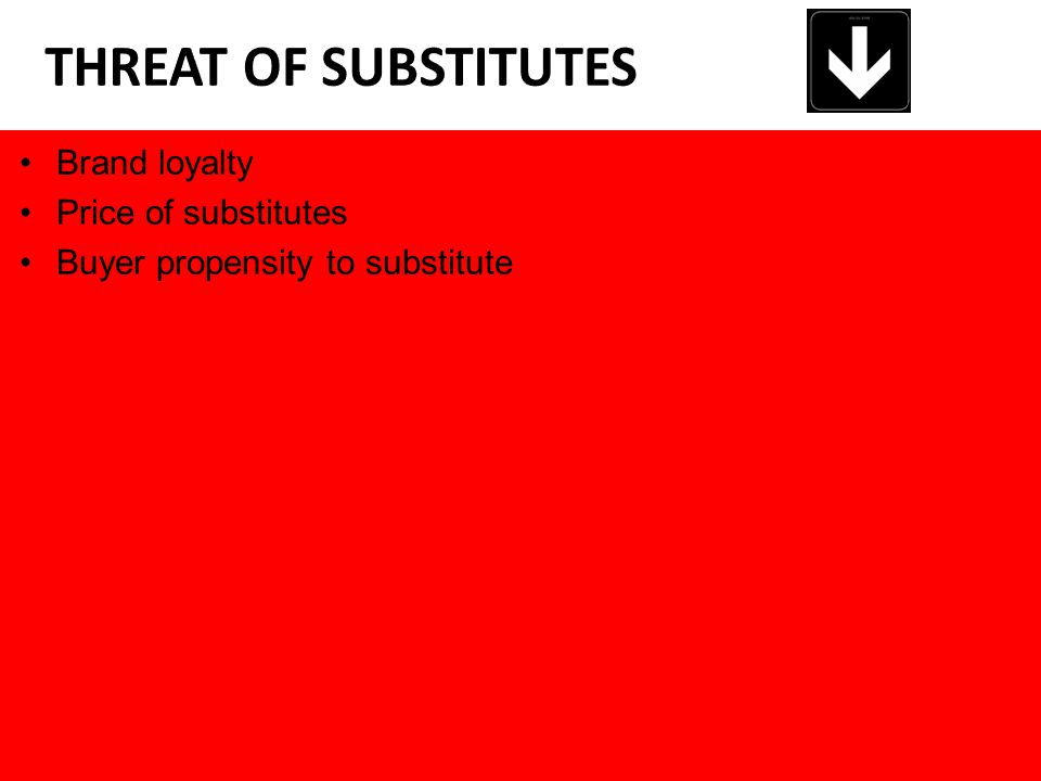 Brand loyalty Price of substitutes Buyer propensity to substitute